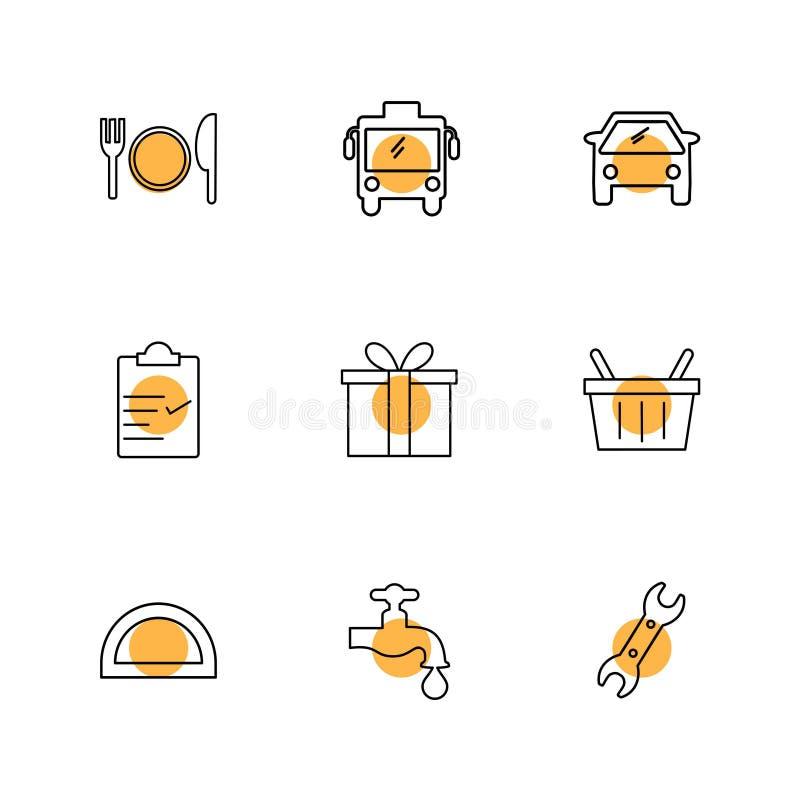 公共汽车, giftbox,轻拍,剪贴板,运输,旅行,运输 皇族释放例证