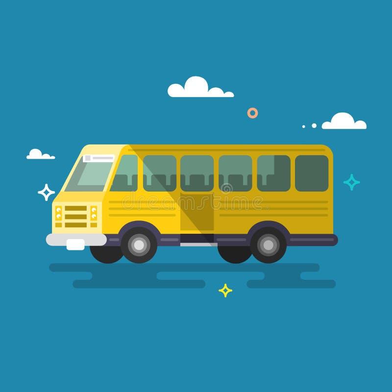 公共汽车 平的设计 库存例证