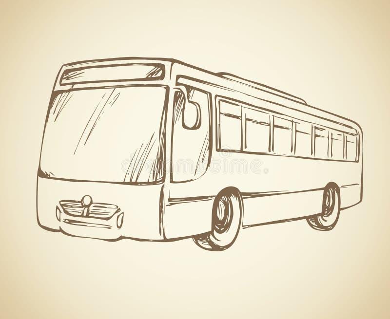 公共汽车 得出花卉草向量的背景 库存例证