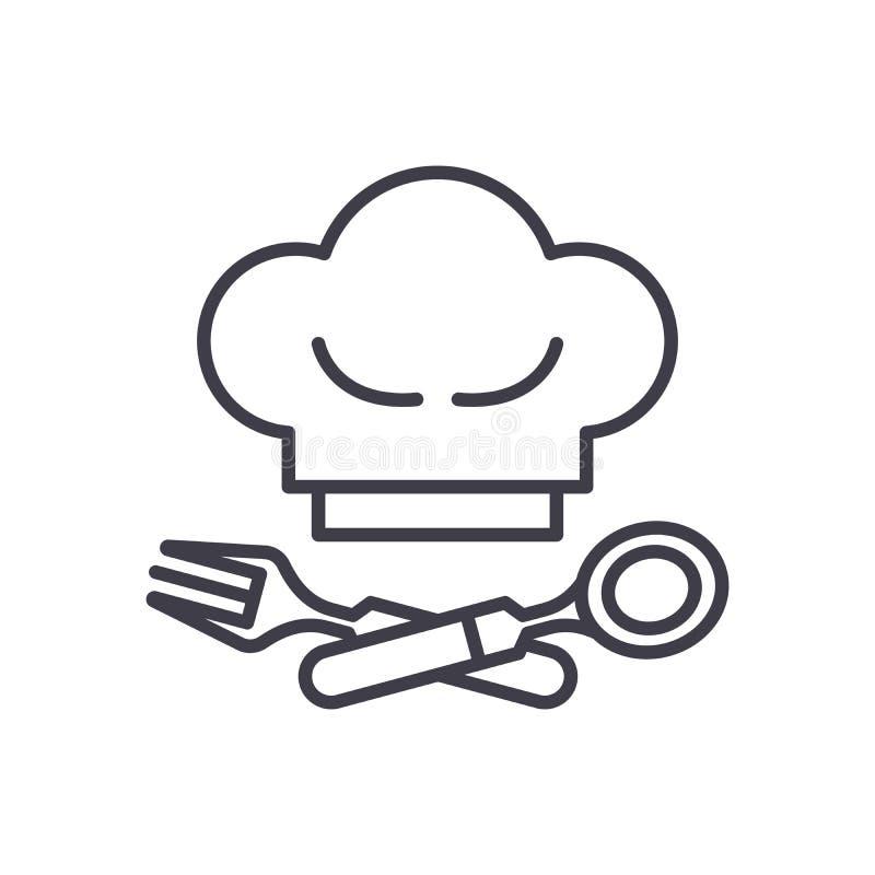 公共饮食商业黑色象概念 公共饮食商业平的传染媒介标志,标志,例证 皇族释放例证