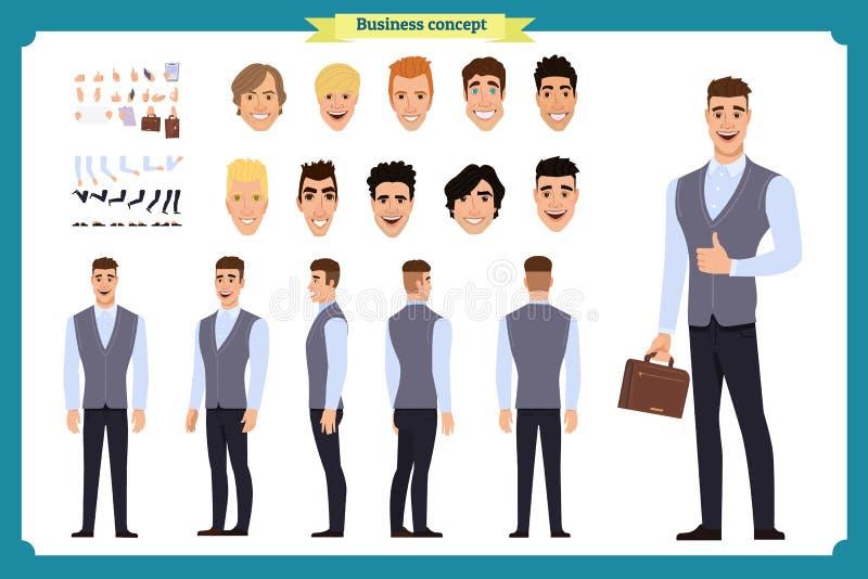 公务便装时尚 前面,边,后面看法给字符赋予生命 经理字符建设者有各种各样的看法,发型 向量例证