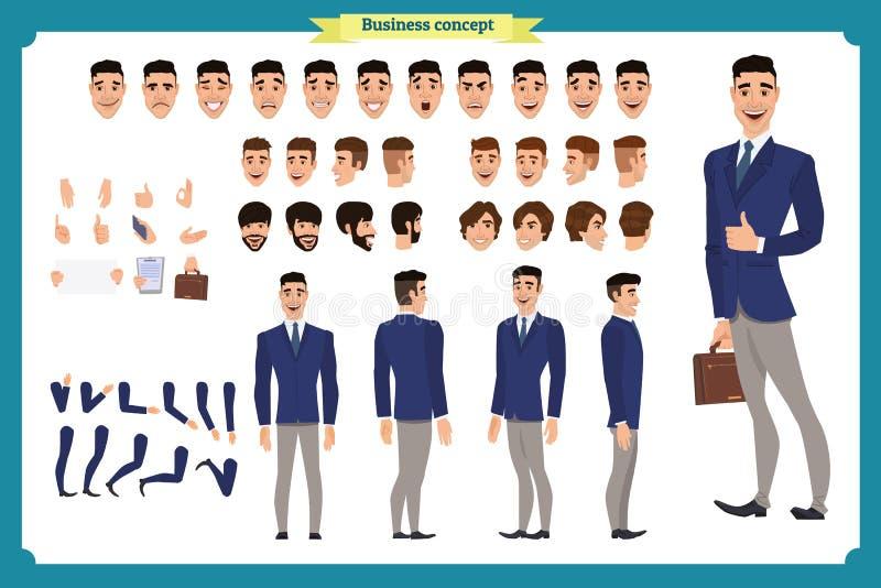 公务便装时尚 前面,边,后面看法给字符赋予生命 经理字符建设者有各种各样的看法,发型 皇族释放例证