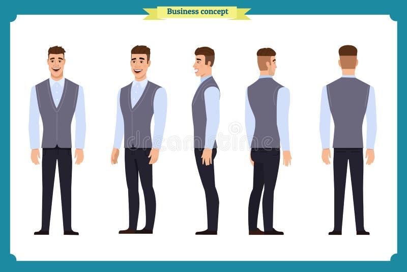 公务便装时尚 动画的年轻人 前面,边,后面,字符 身体动画片要素零件分隔 动画片样式,平的传染媒介 库存例证