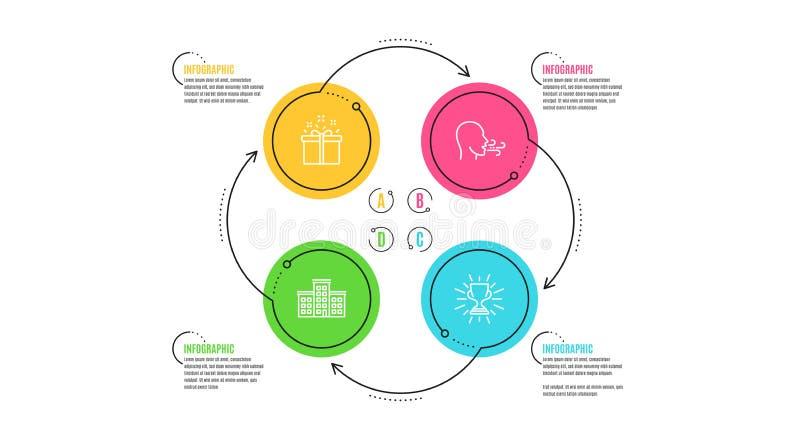 公司、特价和呼吸的锻炼象集合 战利品标志 大厦,交付箱子,呼吸 向量 向量例证
