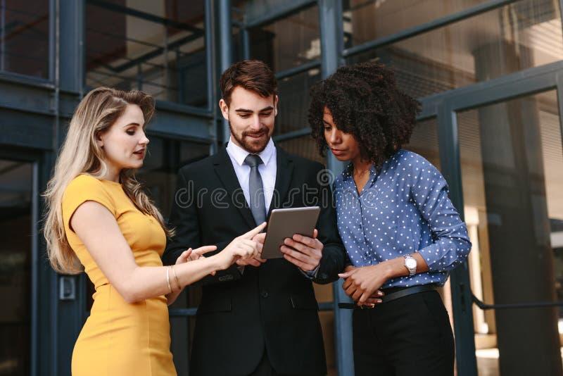 公司专家谈论工作使用数字片剂 免版税图库摄影