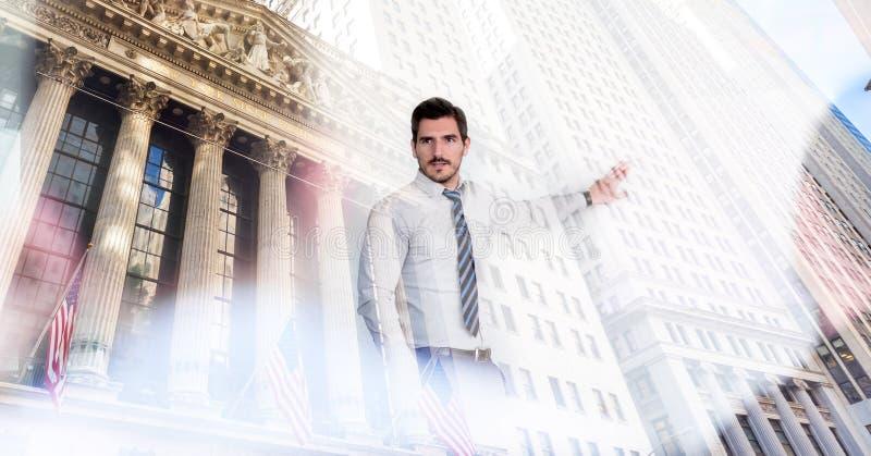 公司业务、财务、股票市场和经济繁荣conceptul拼贴画 华尔街经纪和财富 皇族释放例证