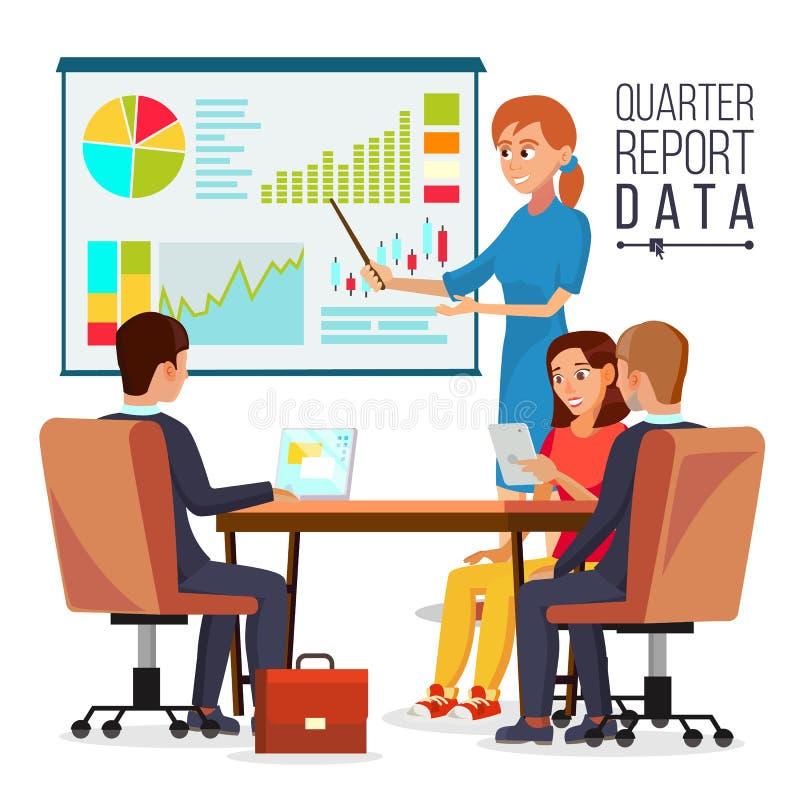 公司业务会议传染媒介 解释四分之一报告数据的妇女经理 配合 聊天在会议室 向量例证