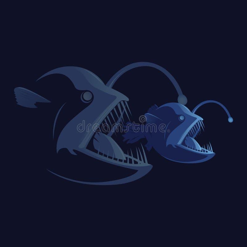 公司业务积极的合并概念 食物链 更大鱼吃更小一个 被隔绝的平的样式例证 免版税库存照片