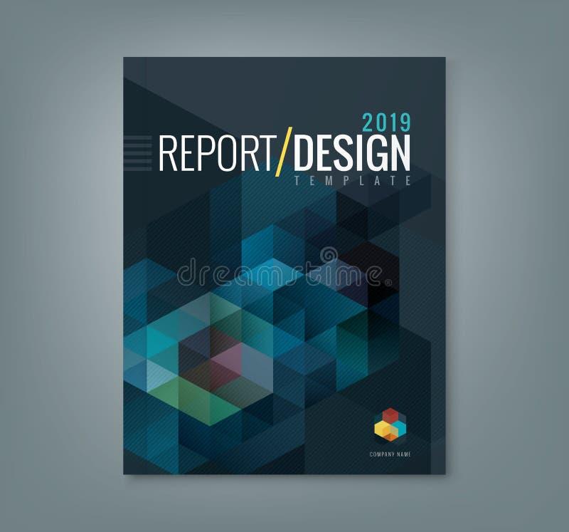 公司业务年终报告书套的抽象六角形立方体样式背景设计 向量例证