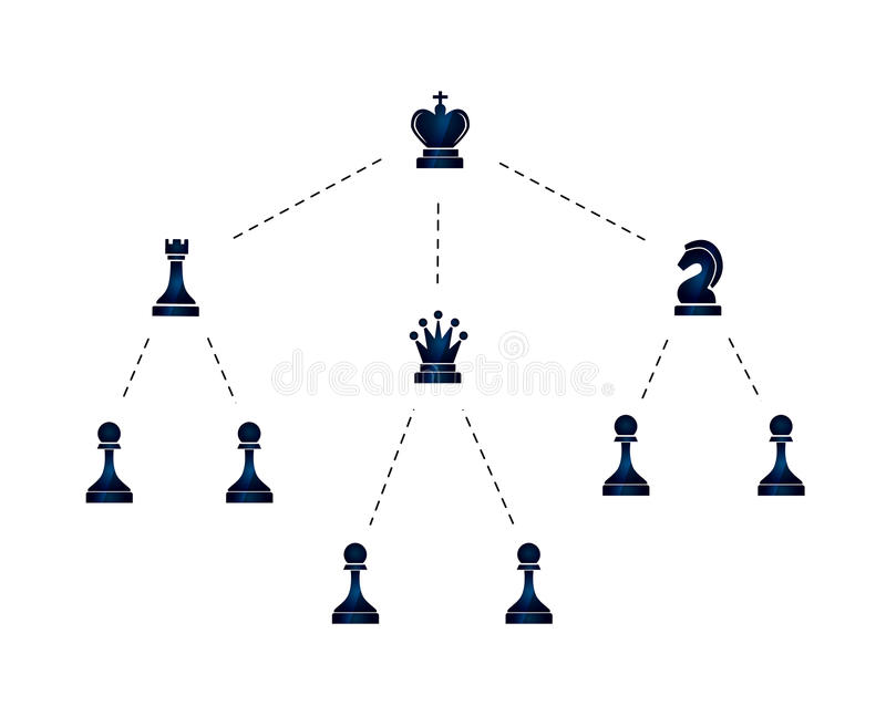 公司例证阶层与棋象的在白色 库存例证