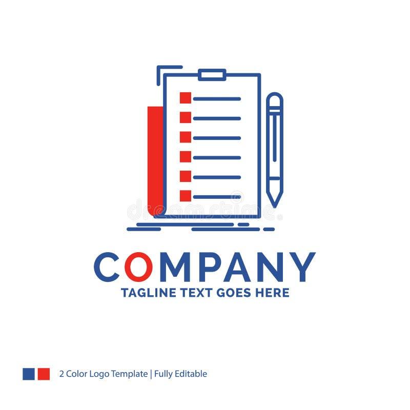 公司名称专门技术的,清单,检查,名单商标设计 皇族释放例证