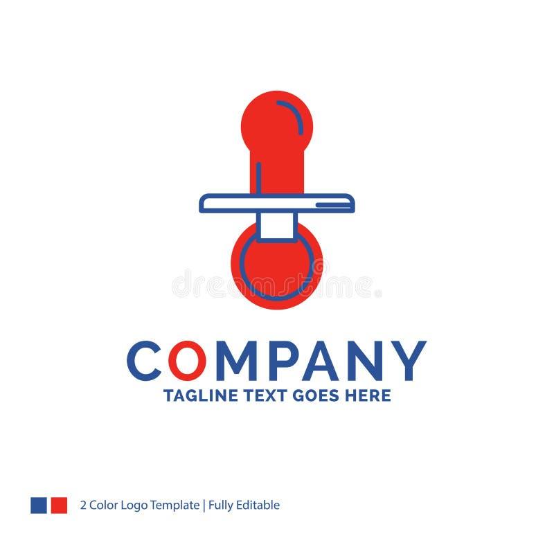 公司名称乳头的,婴孩,钝汉,安慰者,孩子商标设计 向量例证