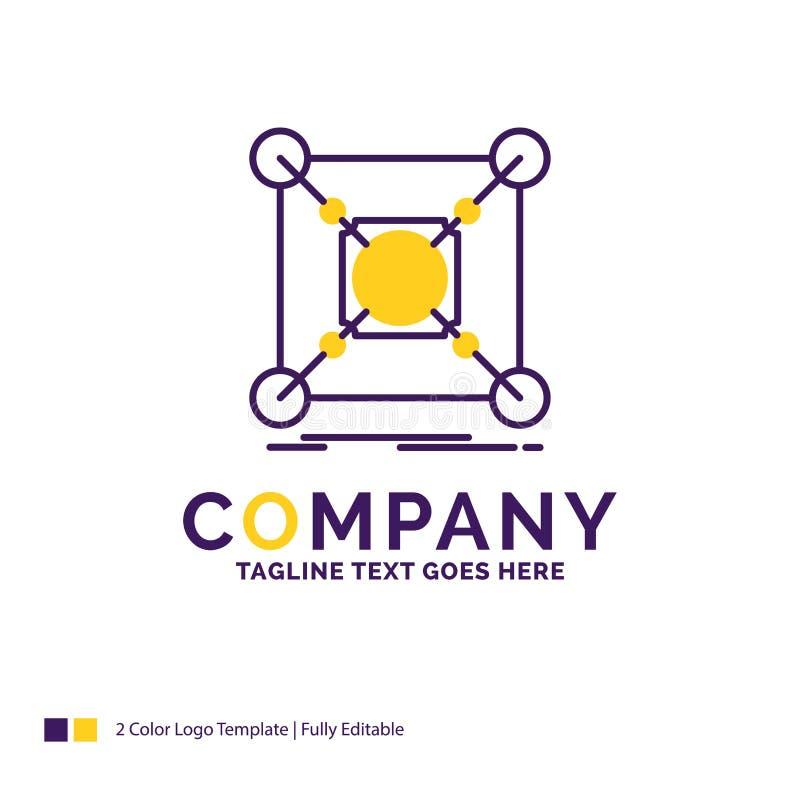 公司名称基地的,中心,连接,数据,插孔商标设计 向量例证