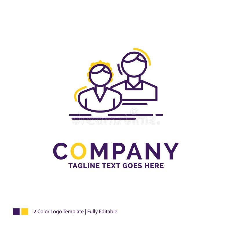 公司名称学生的,雇员,小组,夫妇,t商标设计 皇族释放例证