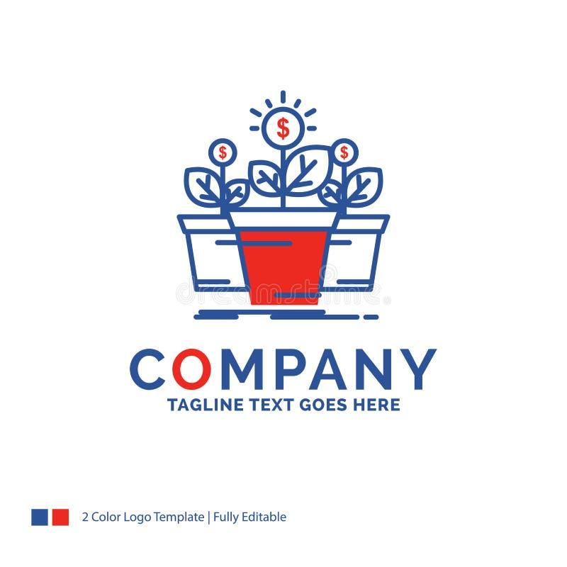 公司名称成长的,金钱,植物,罐,树商标设计 Bl 库存例证