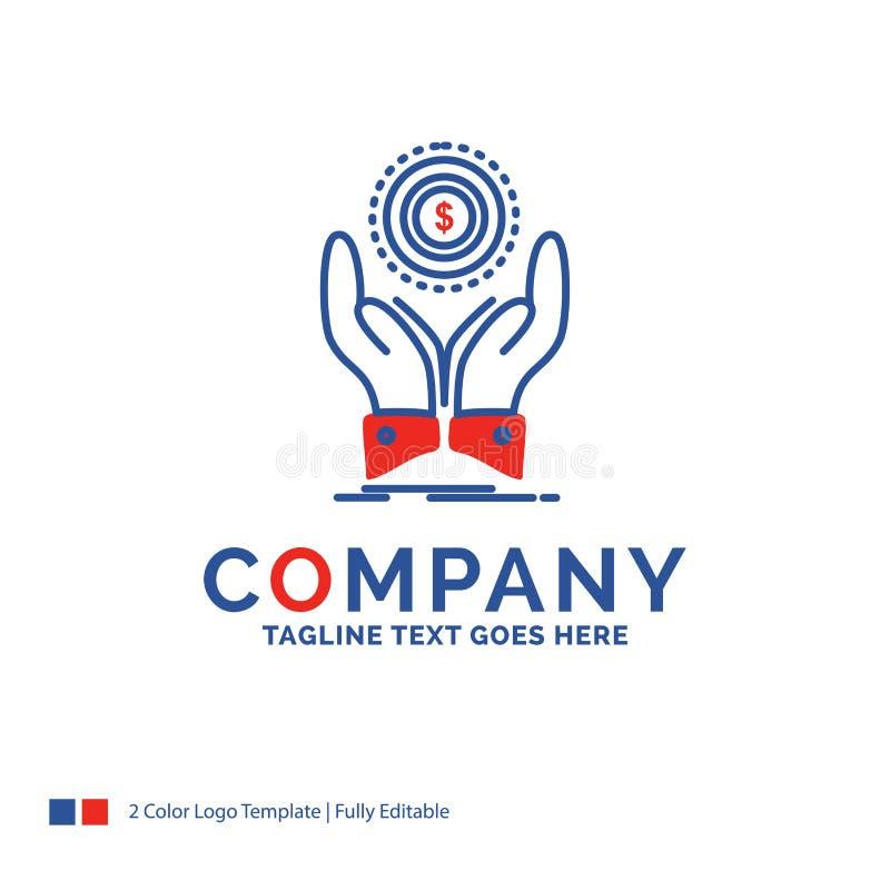 公司名称硬币的,手,堆,美元,收入商标设计 向量例证