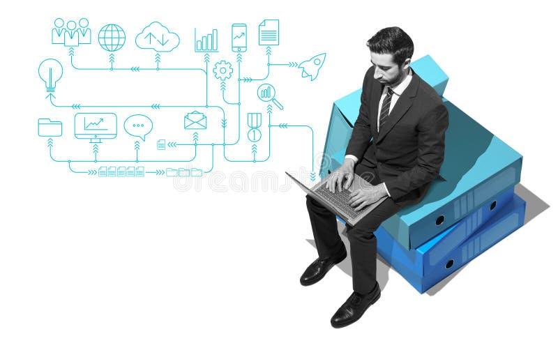 公司商人与他的膝上型计算机和网络一起使用 库存照片