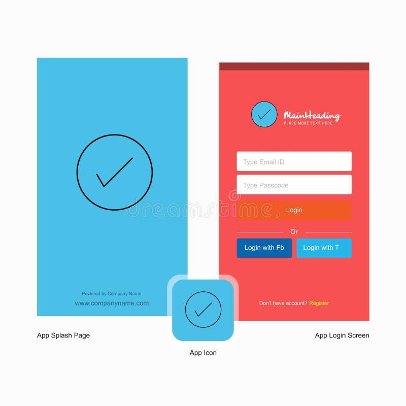 公司壁虱飞溅与商标模板的屏幕和注册页设计 流动网上企业模板 向量例证
