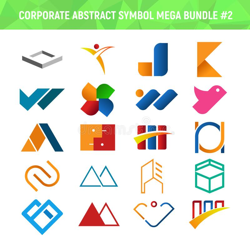 公司抽象符号兆捆绑组装设计2 向量例证