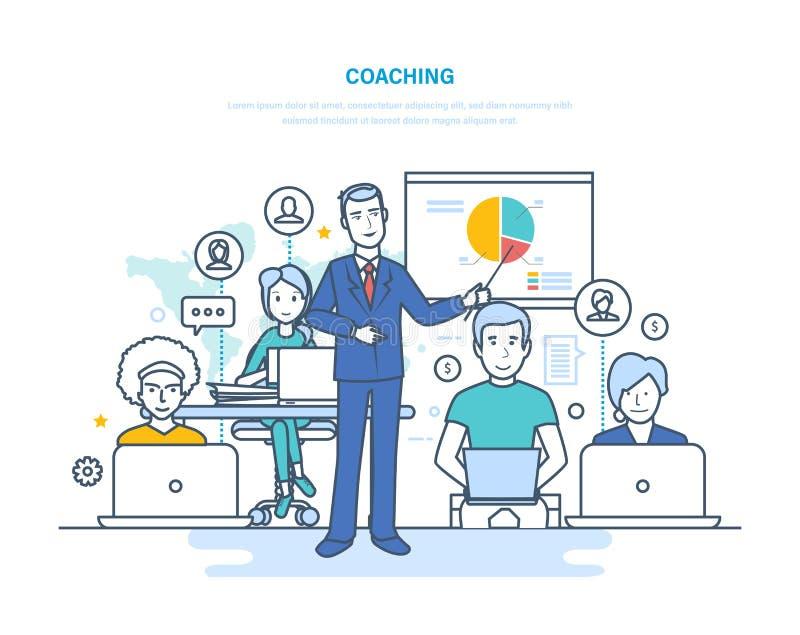 公司教练,训练,教的商人,事务学会,网上教育 向量例证