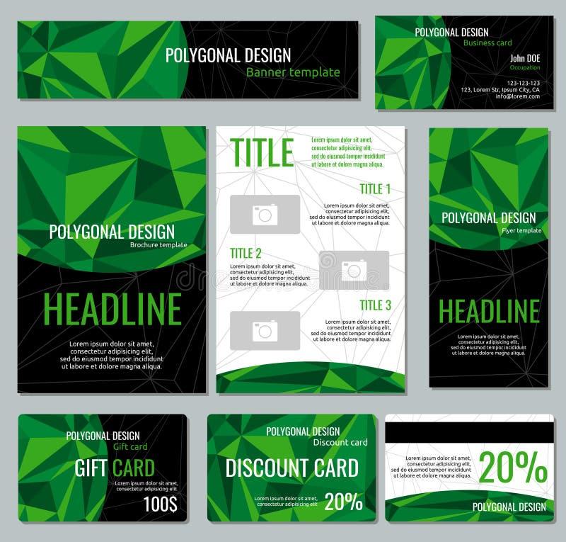 公司本体与绿色多角形元素的传染媒介模板 向量例证