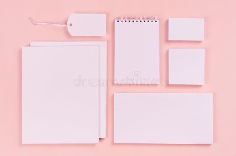 公司本体模板,白色文具设置与空白的名片,标签,在粉红彩笔时髦的背景的小册子 免版税库存照片