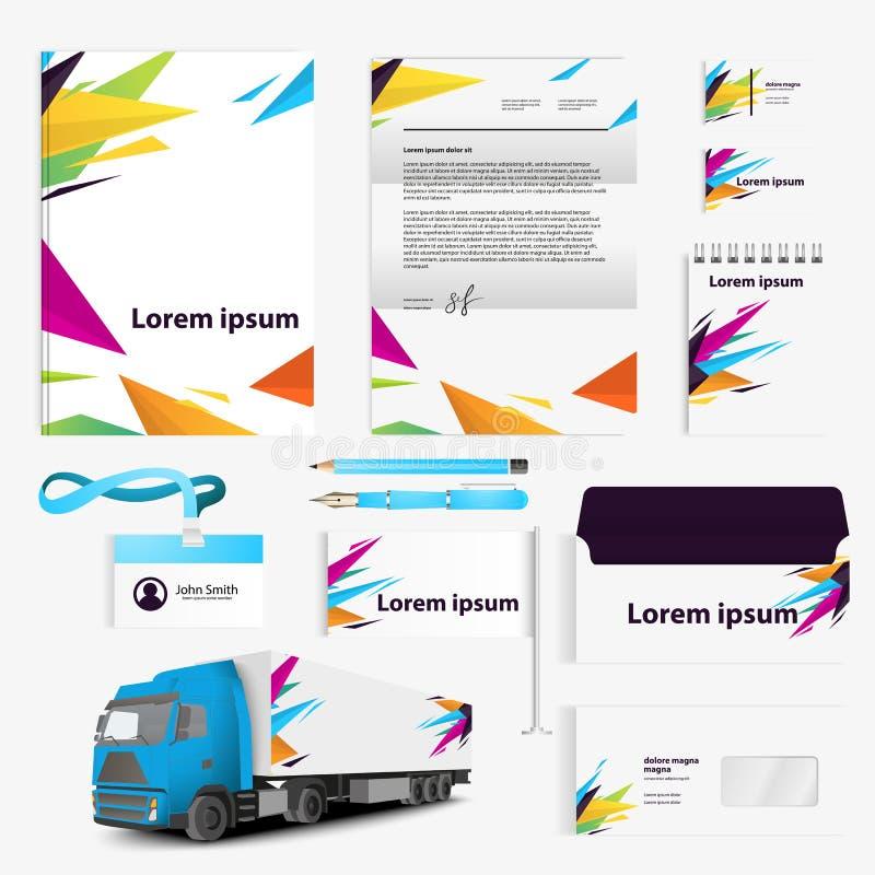 公司本体烙记的模板 与颜色现代元素例证标志的抽象传染媒介文具设计 向量例证
