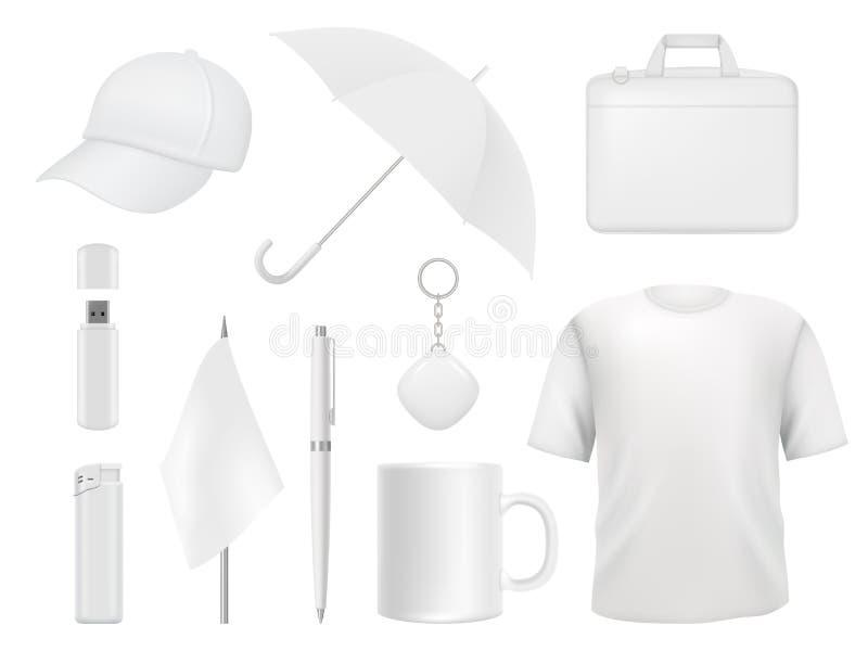 公司本体 企业纪念品包装贴纸笔徽章更轻的传染媒介空的大模型模板的项目衣裳 向量例证
