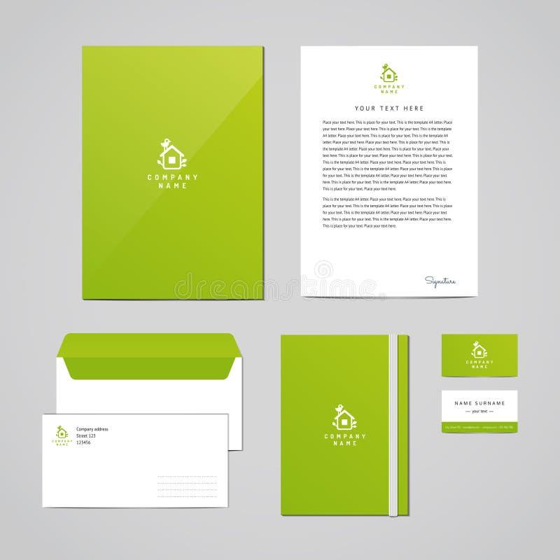 公司本体eco设计模板 事务(文件夹、信头、信封、笔记本和名片)的文献 日志 皇族释放例证
