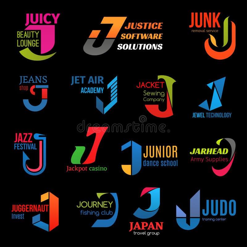 公司本体J创造性的颜色企业象 库存例证