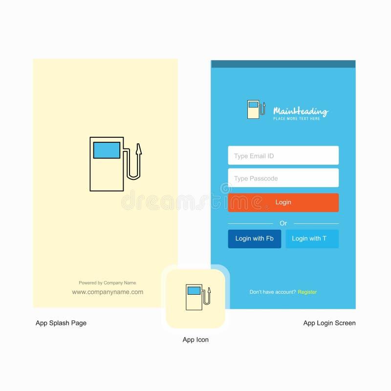 公司燃料驻地飞溅与商标模板的屏幕和注册页设计 流动网上企业模板 向量例证