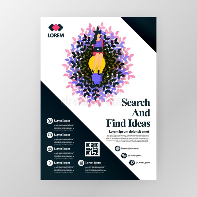 公司的企业海报关于发现想法的研讨会的在行销和促进 传染媒介网的,网站例证概念 皇族释放例证