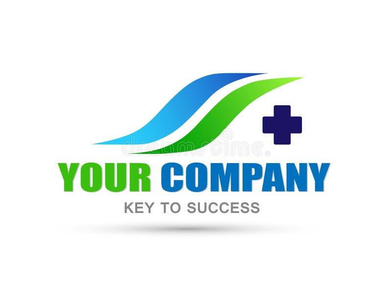 公司的医疗发怒健康商标象在白色背景 库存例证