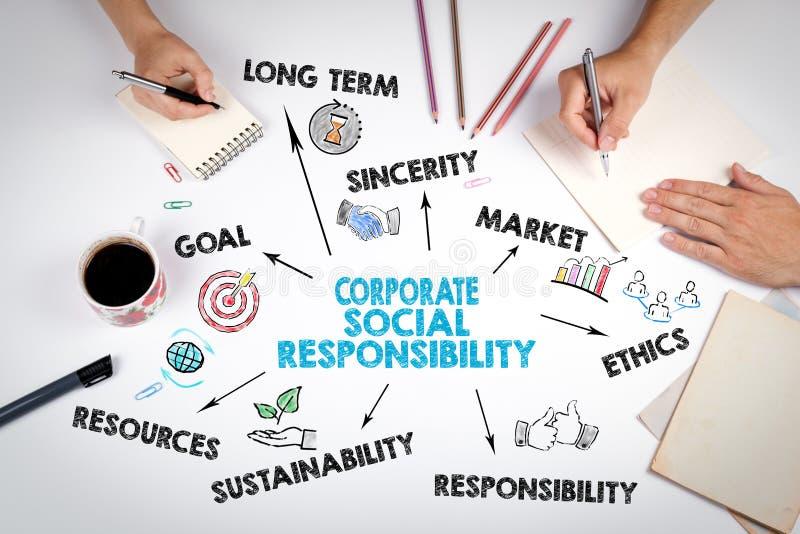 公司的社会责任概念 会议在白色办公室桌上 库存照片