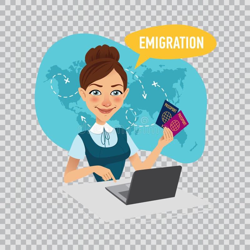 公司的雇员签证为移民做准备 移出概念 在透明背景的例证 库存例证