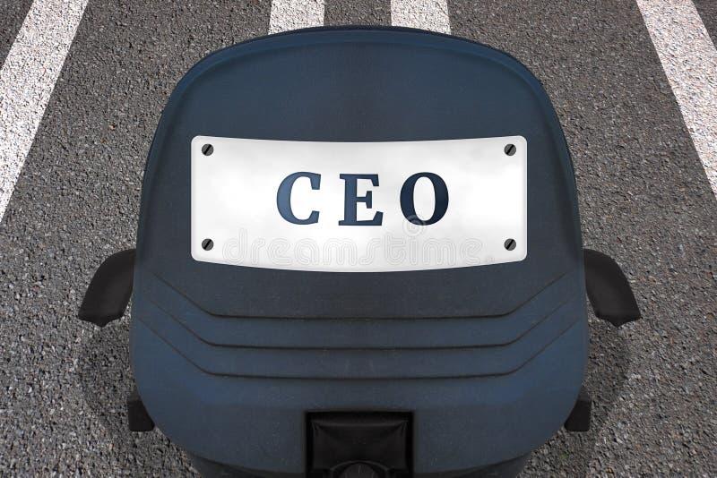 公司管理概念海报 文本CEO r 汽车在后面的ID板材与 向量例证
