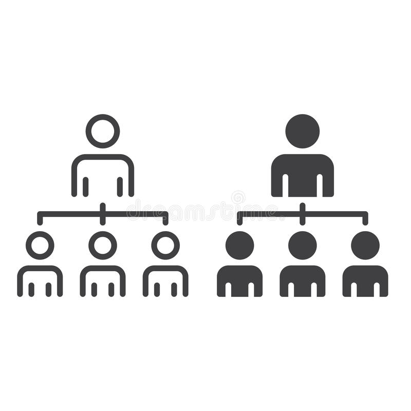 公司线和坚实象的被隔绝的组织结构,概述和被填装的传染媒介标志,线性和充分的图表  皇族释放例证