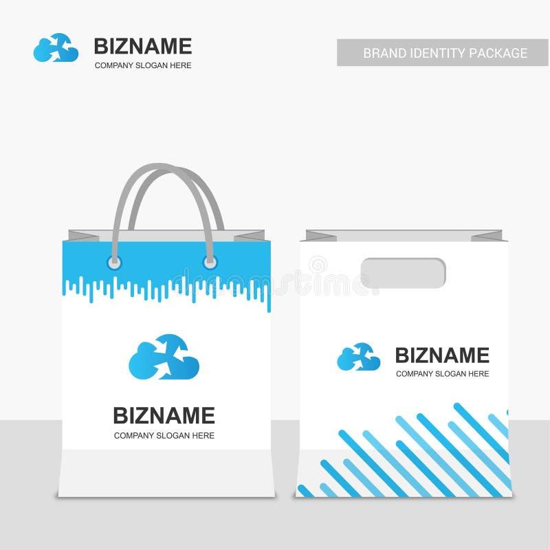 公司设计与蓝色题材传染媒介的购物袋与网络 皇族释放例证