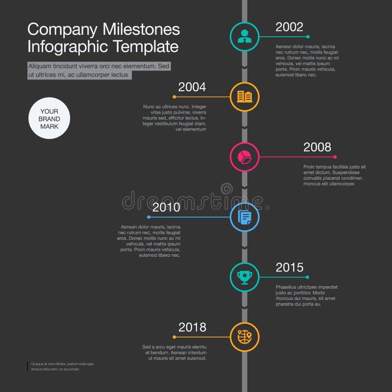 公司里程碑与在黑暗的背景隔绝的五颜六色的圈子的时间安排模板 库存例证
