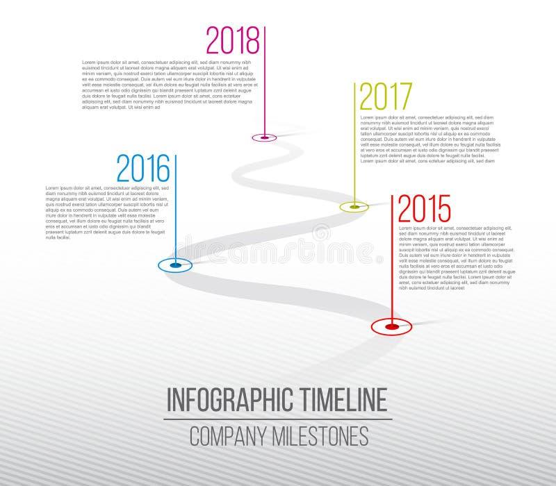 公司里程碑时间安排的创造性的传染媒介例证 与尖的模板 弯曲的路与信息的线艺术设计 库存例证