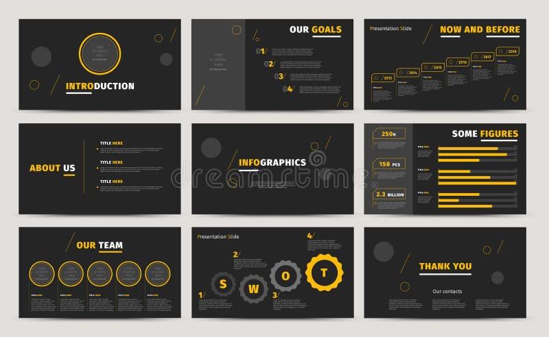 公司介绍幻灯片设计 创造性的企业提案或年终报告 充分的HD传染媒介基调infographics模板 库存例证