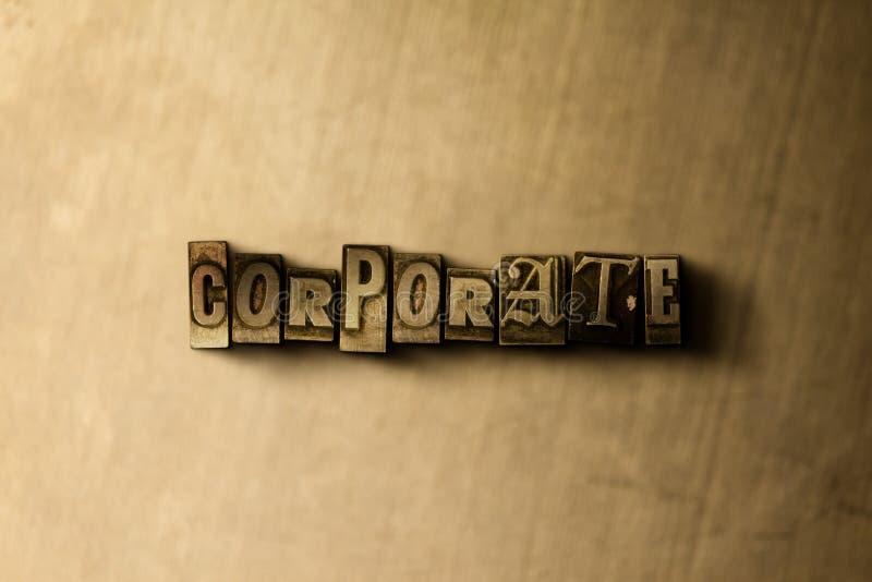 公司-脏的葡萄酒特写镜头排版了在金属背景的词 图库摄影