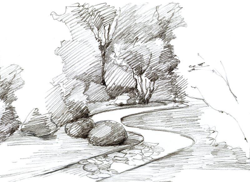 公园与树和小径的风景设计 皇族释放例证
