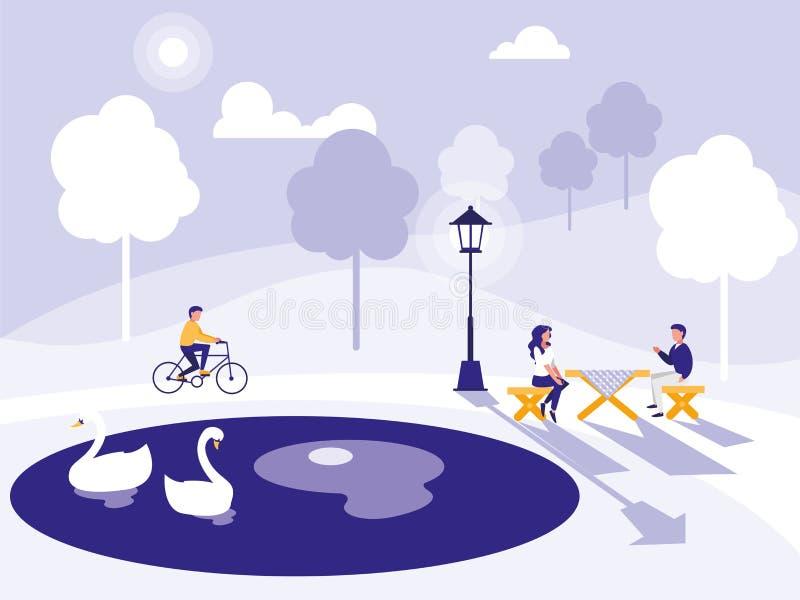 公园和人设计 向量例证
