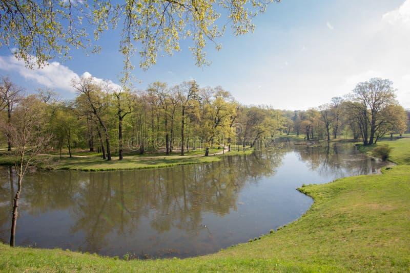 公园和城堡巴德穆斯考 库存图片