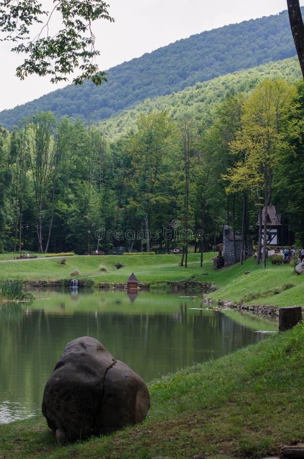 公园和湖Schonborn在Voyevodyno,乌克兰 免版税库存图片