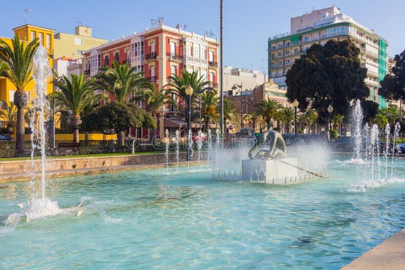 公园喷泉尼古拉斯Salmeron在阿尔梅里雅,西班牙 图库摄影