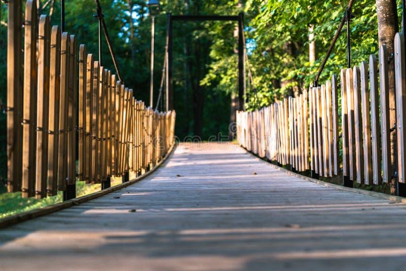 公园在一晴朗的秋天天-在它中间的木桥的五颜六色的照片 库存图片