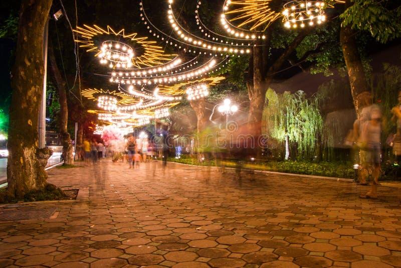 公园在河内在晚上 库存图片