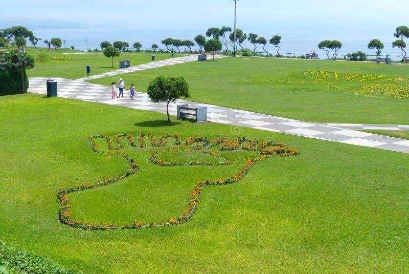 公园在米拉弗洛雷斯区在利马,秘鲁 植物召唤著名纳斯卡线 免版税库存照片